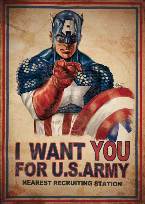 Army Sam Wilsons Captain America Print T Shirt want you for the us army poster