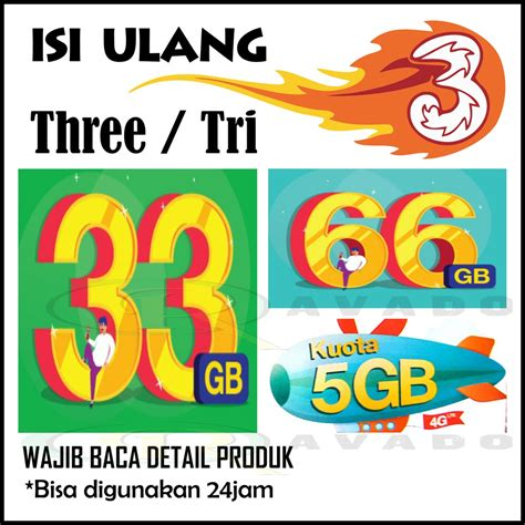 Voucher 3 Three 66 Gb Kuota 66gb paket kuota vocer three tri 4g lte 5gb 33gb 66gb