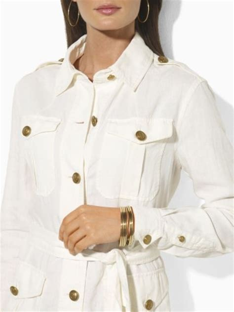 Safari Jacket White by ralph belted linen safari jacket in white pearl lyst