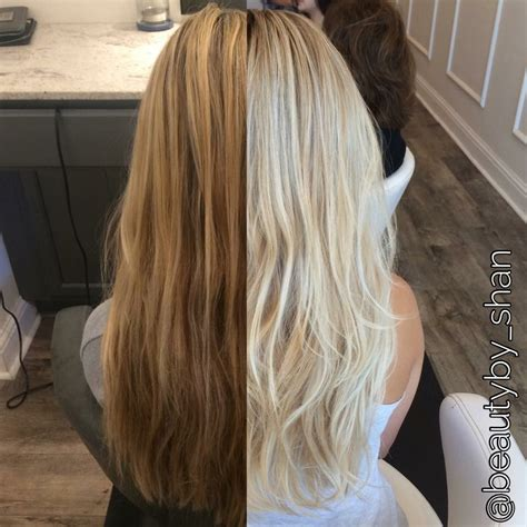 Before and after dark brassy blonde to platinum blonde rooty balayage blonde beautyby shan