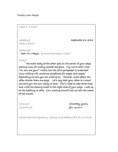 Writing A Business Letter Grade 5 writing a friendly letter template friendly letter