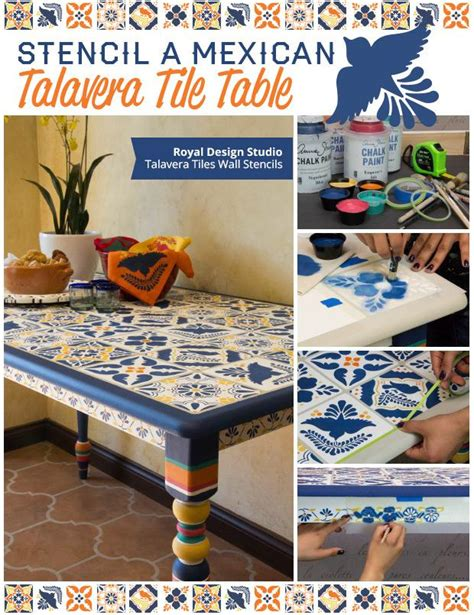 mexican kitchen table how to stencil a mexican talavera tile table diy project