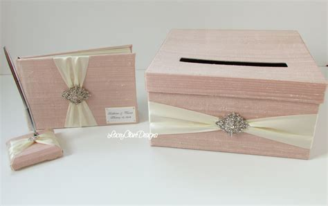 Wedding Box And Guest Book by Wedding Card Box And Guest Book Pen Set Custom Made Blush