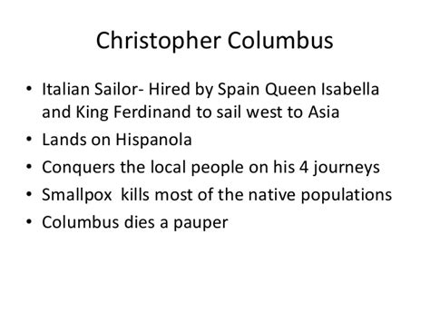 christopher columbus biography short summary early explorers this is a set of summary slides after an