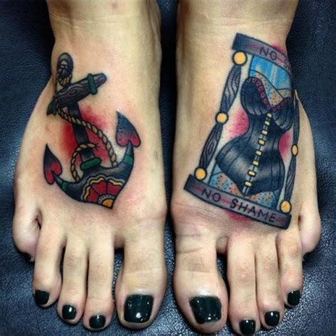 old foot anchor clepsydra tattoo by kwadron tattoo