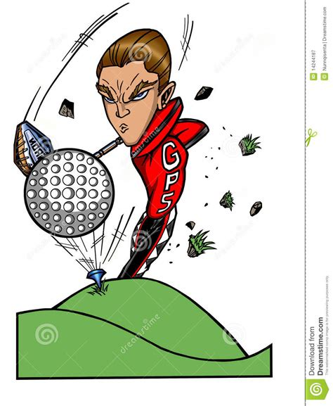 swinging on a star cartoon golf pro super star royalty free stock photography image