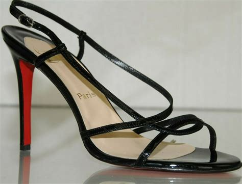 new christian louboutin mimini black patent strappy sandals shoes 40 9 5 39 8 5 ebay