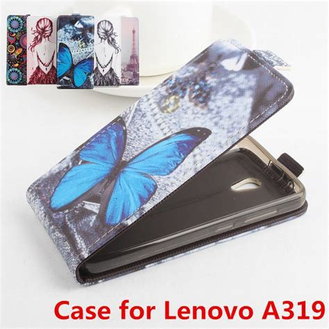 100 high quality leather for lenovo a319 flip cover housing for lenovo a 319 leather