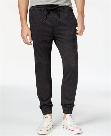 Jogger Navy 27 30 guess neil mini herringbone jogger in black for lyst