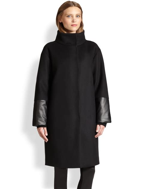 oversized black leather akris punto oversized wool faux leather coat in black lyst