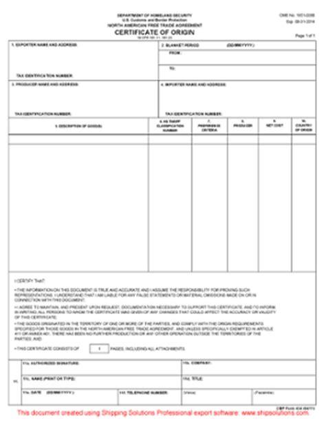 nafta certificate of origin template nafta certificate of origin