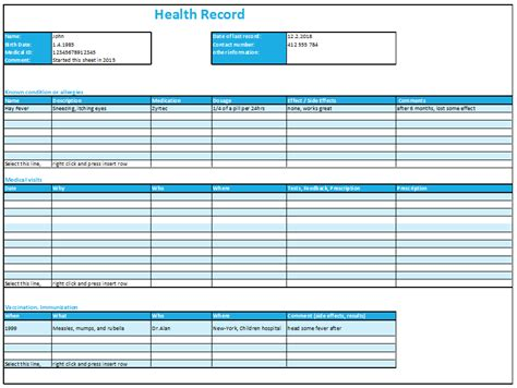 Excel Health Record Tracking Log Template By Excelmadeeasy Personal Health Record Template