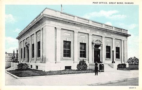 Great Bend Post Office by Great Bend Kansas Birds Eye View Us Post Office Antique Pc