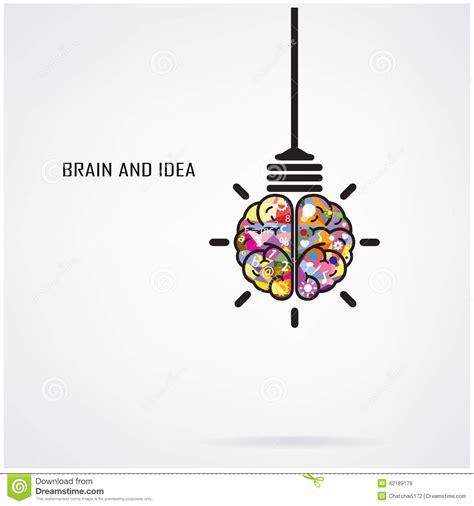 idea design art creative brain idea and light bulb concept stock vector