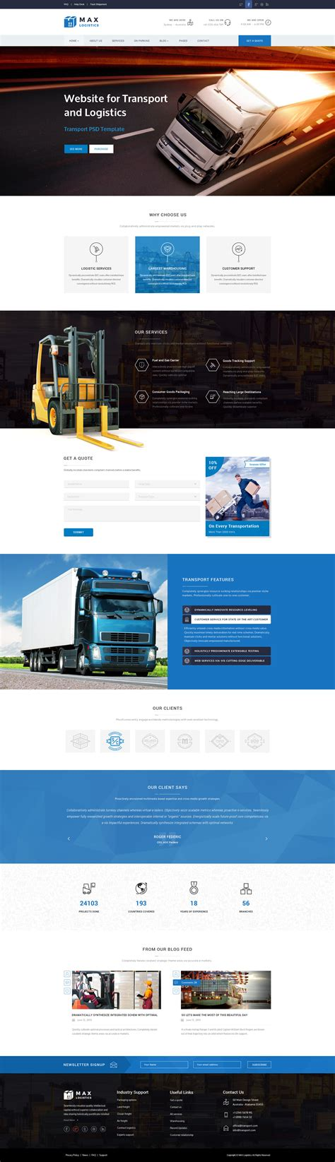 Max Logistics Transport Logistics Html Template By Premiumlayers Logistics Website Template