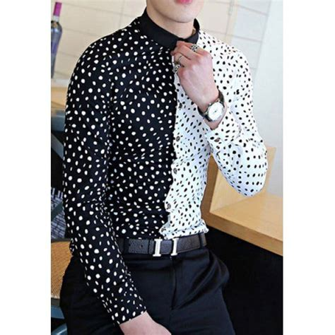 Kemeja Nathan trendy slimming shirt collar color block splicing dot