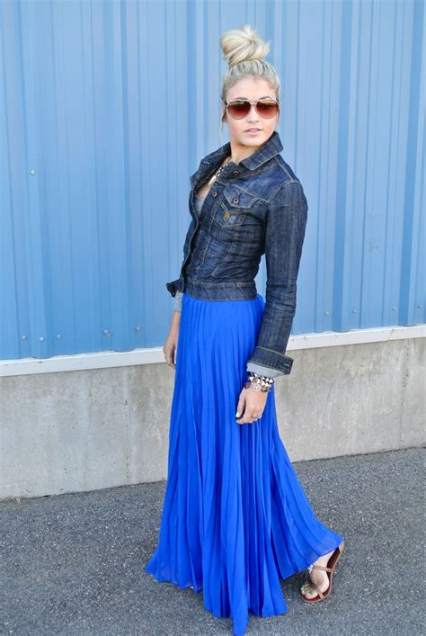 blue pleated maxi wear