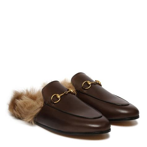 bottom loafers just to compliment the mink gucci brown princetown leather fur slip on loafers mules