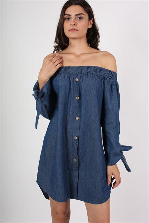 Dress Yuyu Mini Dress Denim denim button front shoulder denim mini dress pilot clothing pilot