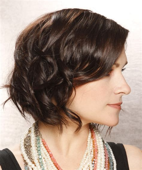 pictures of short casual style haircut for ladies over 60 short wavy casual bob hairstyle dark brunette chocolate