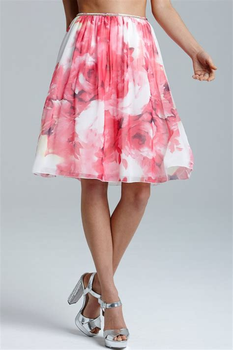 pink floral print a line skirt from uk
