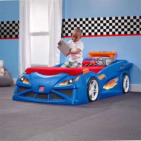 twin car bed for boys step2 hot wheels twin plastic kids bed 854600 the home depot