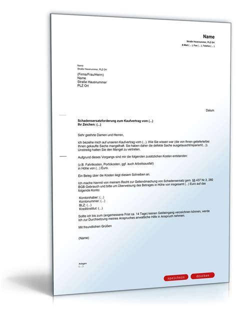 Musterbrief Kredit Bearbeitungsgebühr Erstattung Schadensersatz Nach Umtausch Musterbrief Zum