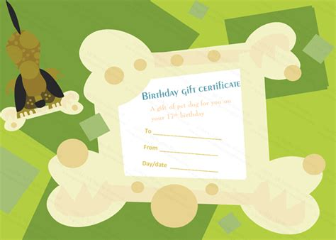 Free Pet Card Templates by Birthday Gift Certificate Templates Certificate Templates