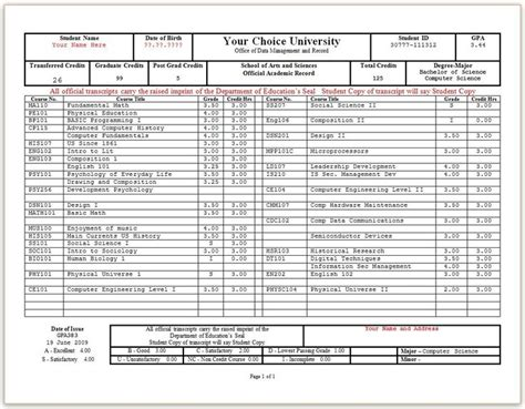 free college transcript template printable high school transcript templates pictures to pin