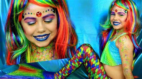 rainbow mermaid costume  makeup tutorial youtube