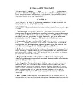 10 shareholder agreement templates free sle exle