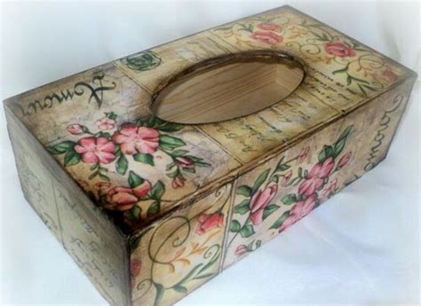 Decoupage With Tissue Paper On Wood - decoupage tissue box decupag tissue boxes