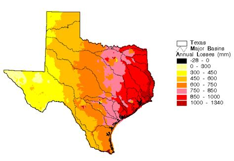 texas average temperature map spatial water balance of texas