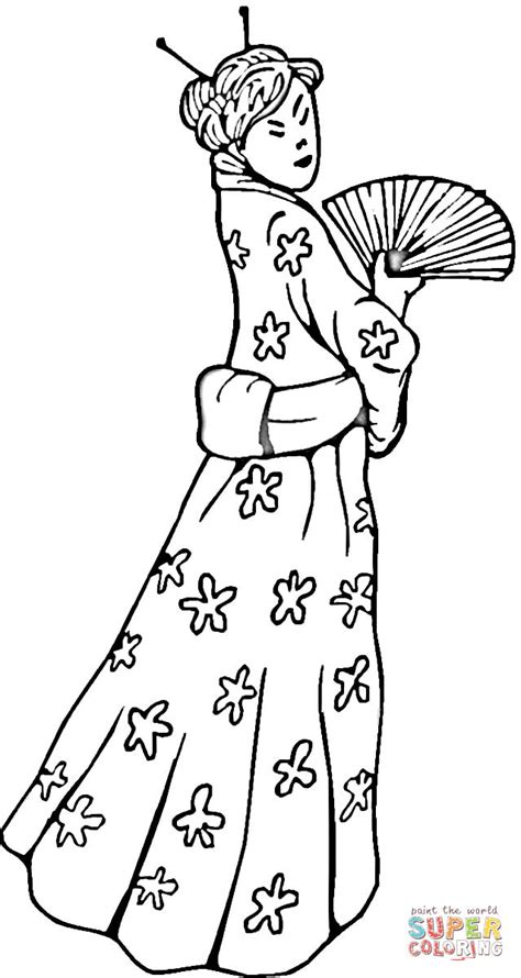Chinese Woman in a traditional dress coloring page | Free