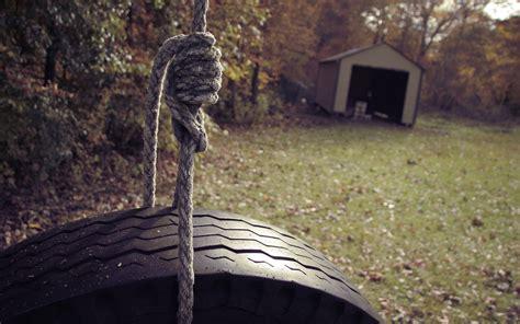 swing wheel wallpaper swing rope wheel garage yard desktop
