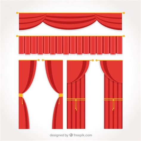 Flat theater curtain pack Vector Free Download