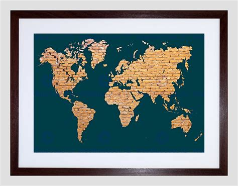 map picture frame world map continents made brick black frame framed
