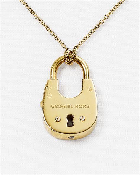 Michael Kors 16 lyst michael kors padlock pendant necklace 16 quot in metallic