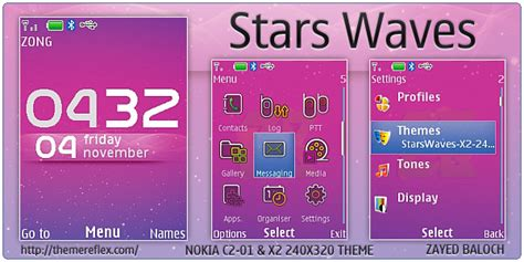 nokia c2 00 themes with ringtone stars waves theme for nokia x2 c2 01 240 215 320 themereflex
