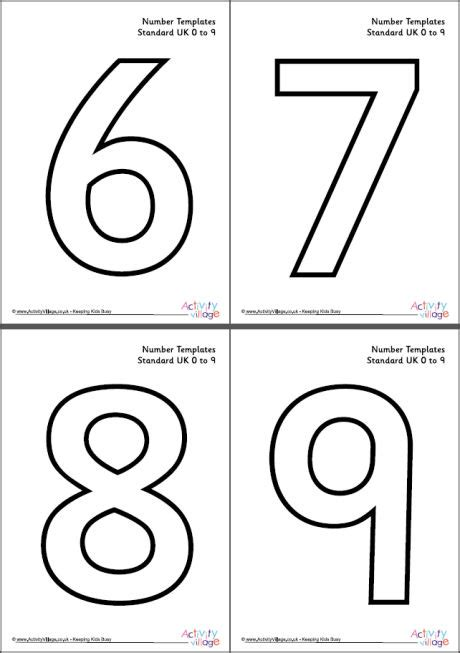 Number Cards 0 9 Template by Number Templates 0 To 9