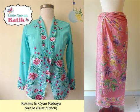 Set Kebaya Flower by Set Peranakan Kebaya Roses Cyan M Size Pink Sarong