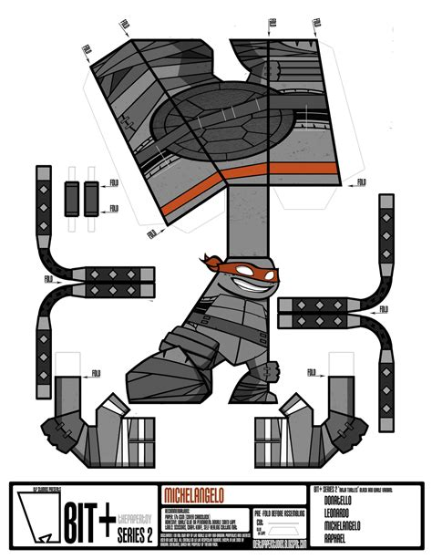 Mutant Turtles Papercraft - bit series 2 turtles michelangelo variant by
