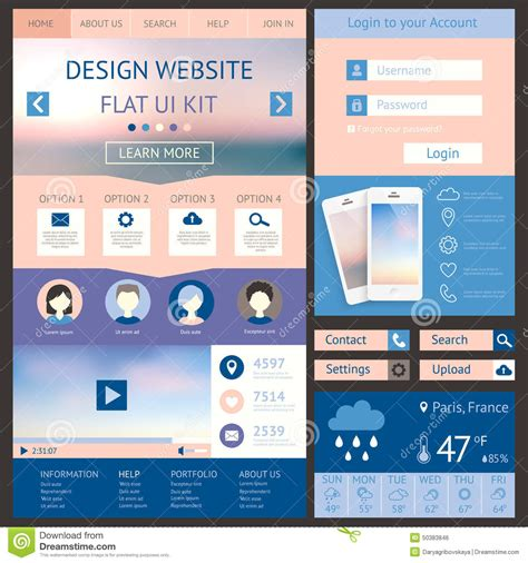 web layout ui kit one page website design template flat ui kit all stock