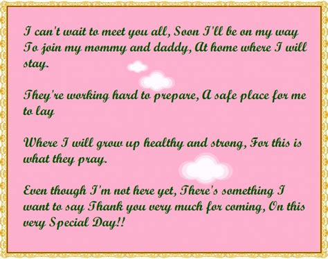 Baby Shower Thank You Poems by Baby Shower Thank You Poems From Unborn Baby