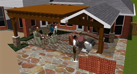 backyard covered patio plans covered patios design rendering in colleyville tx