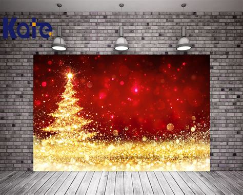 kate christmas background photography backdrops red gold bright backgrounds christmas tree party