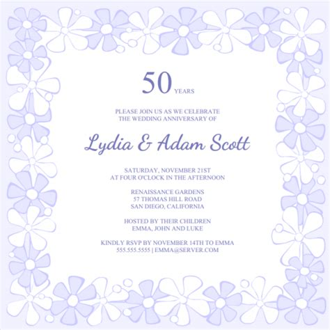 free 50th anniversary invitation templates 8 best images of free printable anniversary invitations