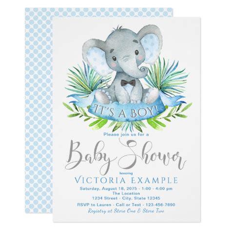 Boys Baby Elephant Baby Shower Invitations Zazzle Co Uk Elephant Baby Shower Invitations Templates