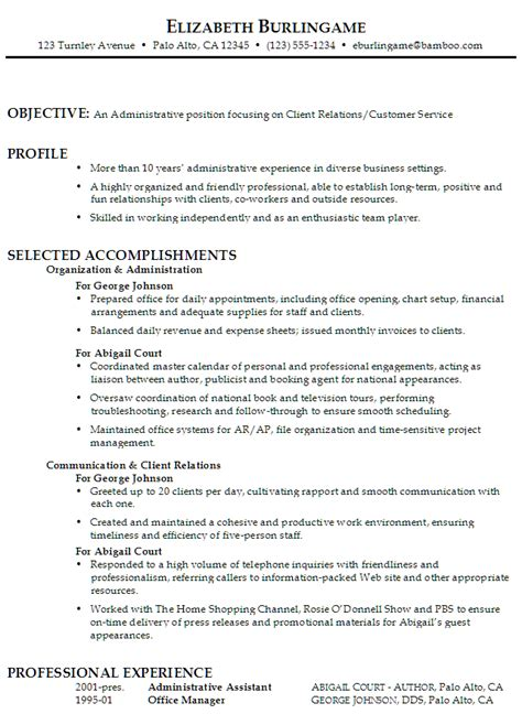 Administrative Assistant Resume Objective Exles by Sle Function Resume For An Administrative Assistant With Focus On Client Relations Customer