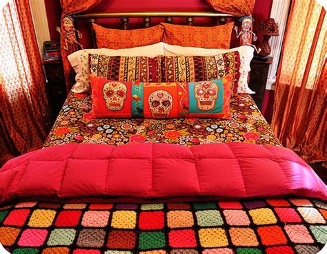 day of the dead bedroom ideas bedroom bright decor orange pink skulls image